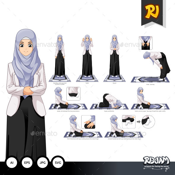 590x590 Complete Set Of Muslim Woman Prayer Position Guide Step By Step