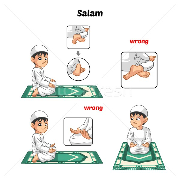 600x600 Muslim Prayer Guide Salutation And Position Of The Feet Vector