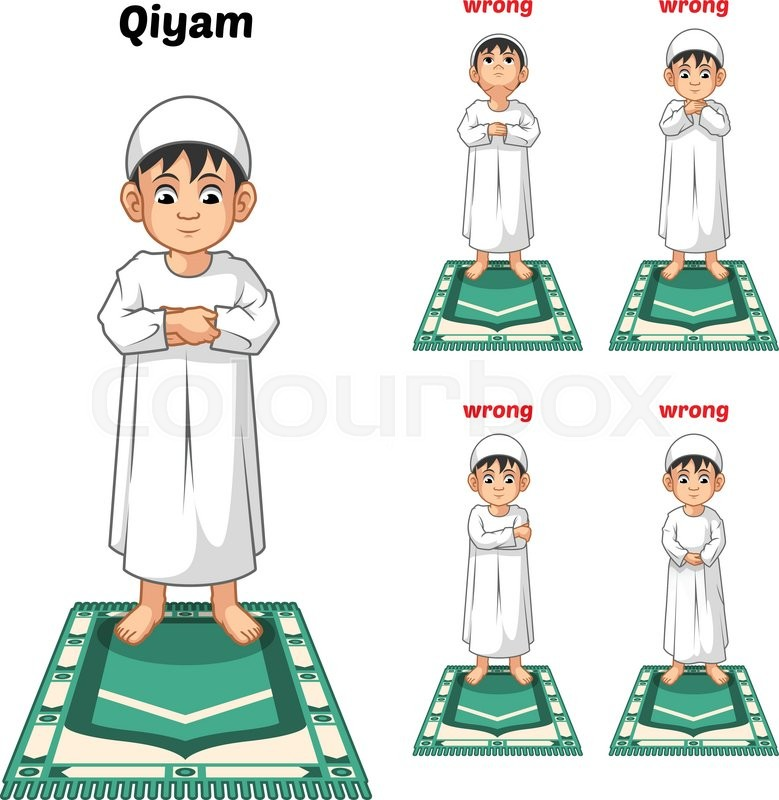 779x800 Muslim Prayer Position Guide Step By Step Perform By Boy Standing