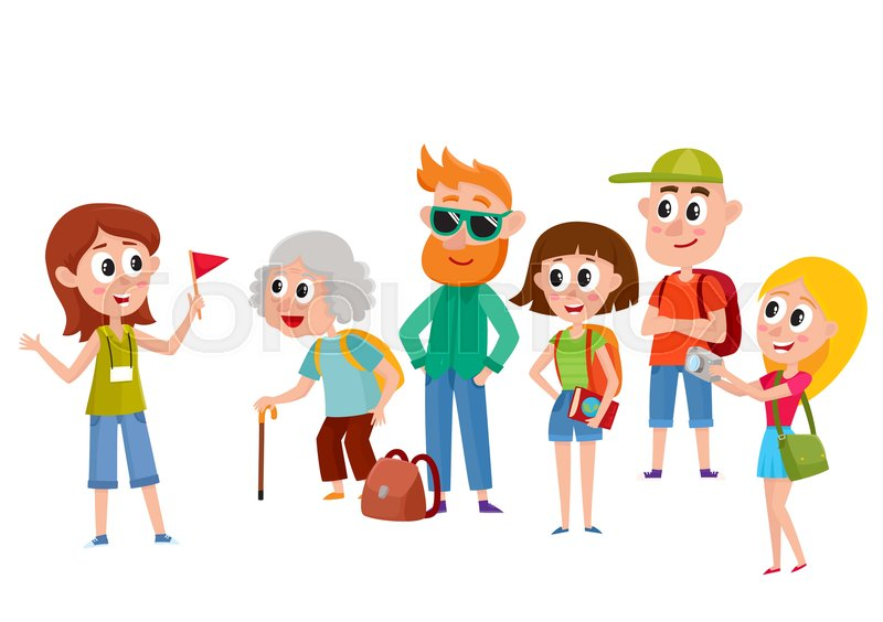 800x564 Tour Guide With Group Of Tourists, Cartoon Vector Illustration