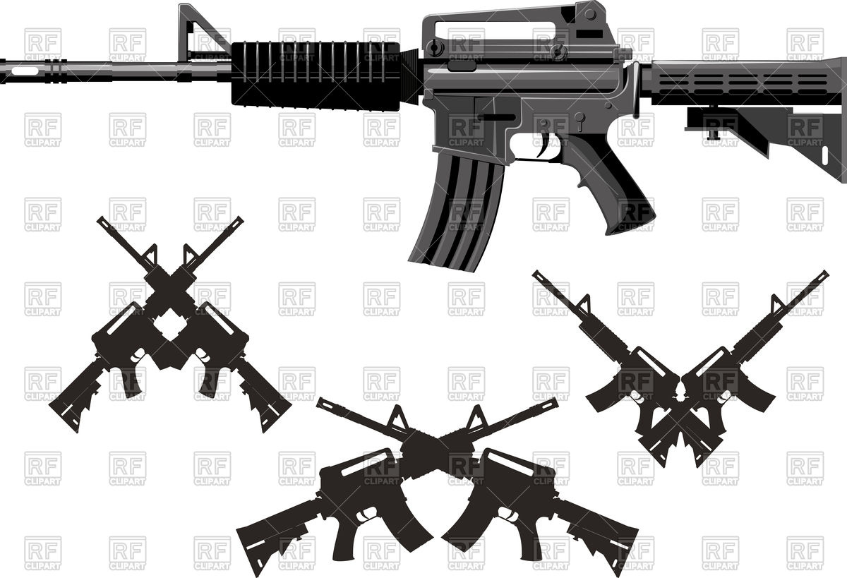 1200x819 Silhouette Of Classic American Weapon, Submachine Gun Vector Image