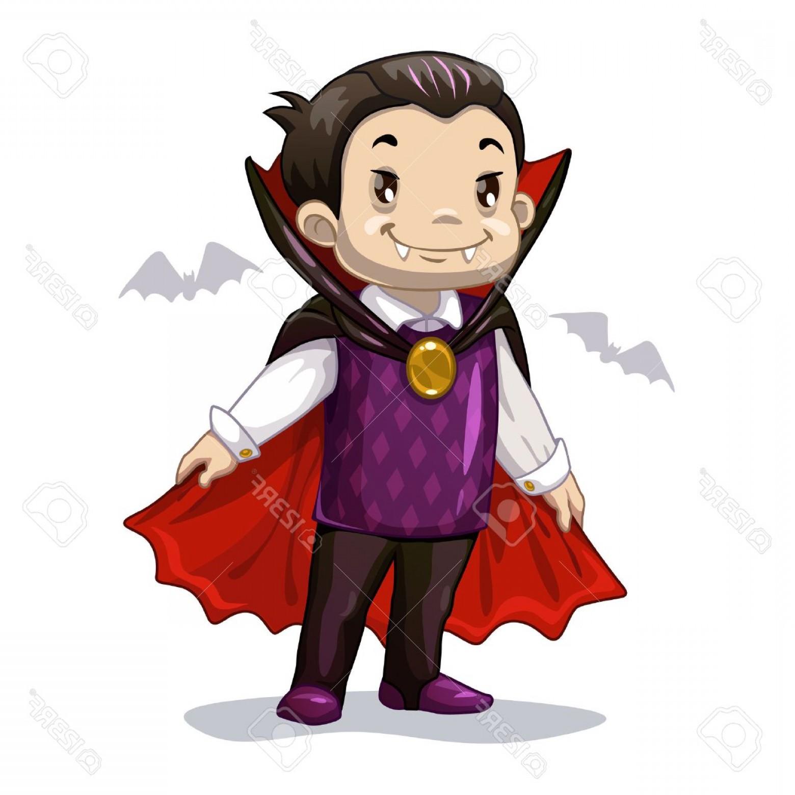 1560x1560 Photostock Vector Funny Cartoon Little Vampire Boy Wearing