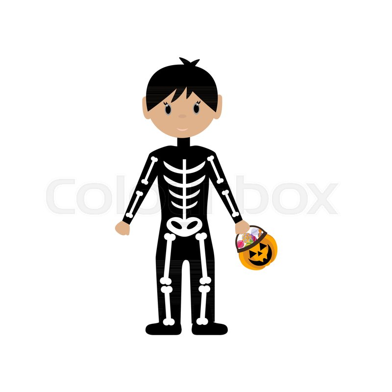 800x800 Skeleton Halloween Costume On The White Background. Vector
