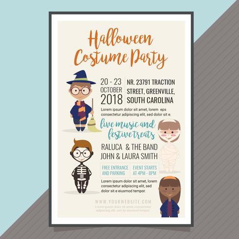 490x490 Vector Halloween Costume Party Poster