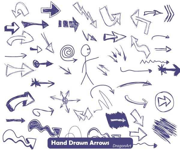 600x500 Free Vector Hand Drawn Arrows Illustrator 123freevectors