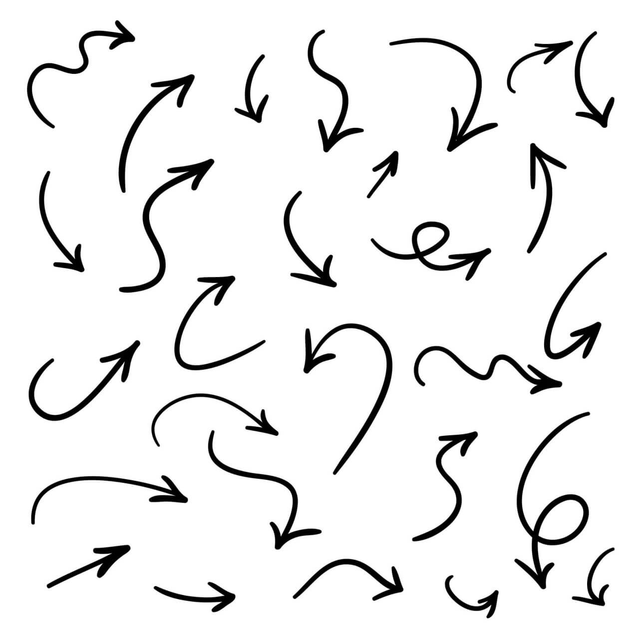 1280x1280 Free Vector Isolated Vector Hand Drawn Arrows Set On A White