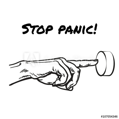 500x500 Hand Pointing On Button. Symbol Stop Panic. Symbol Stop Excitement