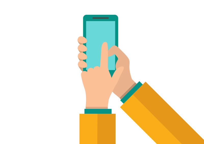 800x566 Hands Holding And Pointing On Smartphone Flat Vector