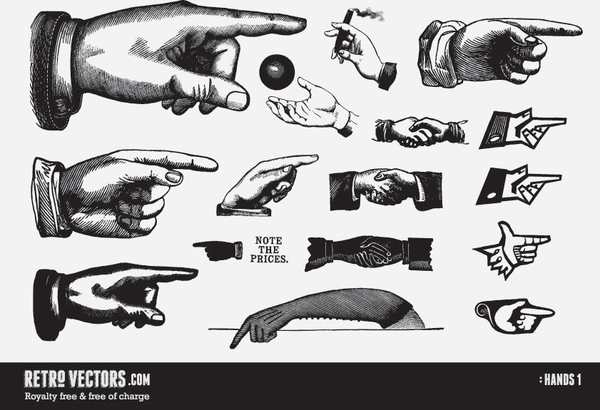 841x575 Pointing Hands Vector