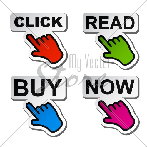 500x500 Vector Hand Pointing To The Word Stickers