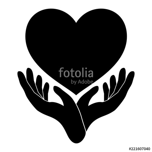 500x500 Hands Holding Heart. Black Hand And Heart Icon. Hand, Heart, Love