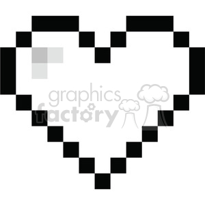 300x300 Royalty Free 8 Bit Heart Love Black 386438 Vector Clip Art Image