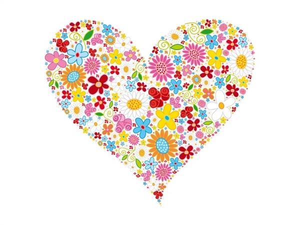 600x450 Heart Shape Vector Illustration With Flowers Design Free Vector In