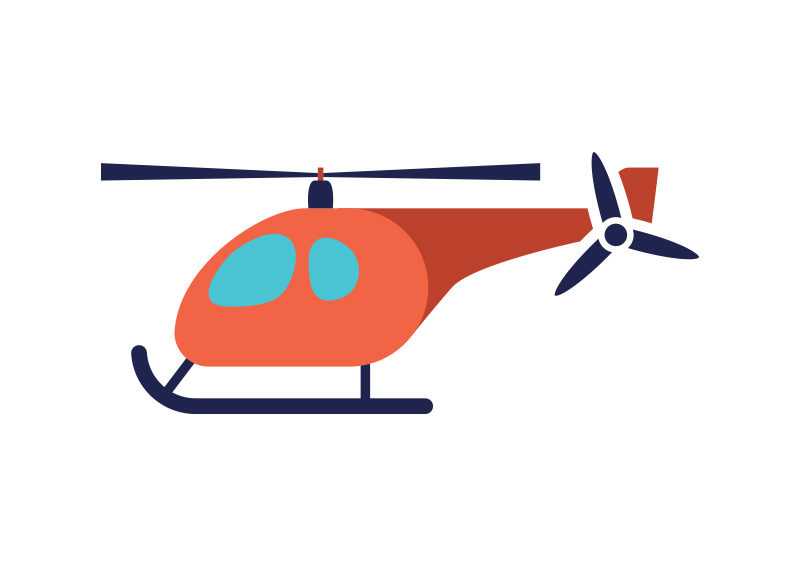 800x566 Helicopter Flat Vector Illustration