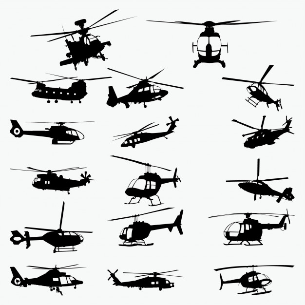 626x626 Helicopter Silhouettes Vector Premium Download