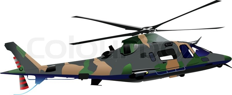 800x329 Air Force Combat Helicopter Vector Illustration Stock Vector