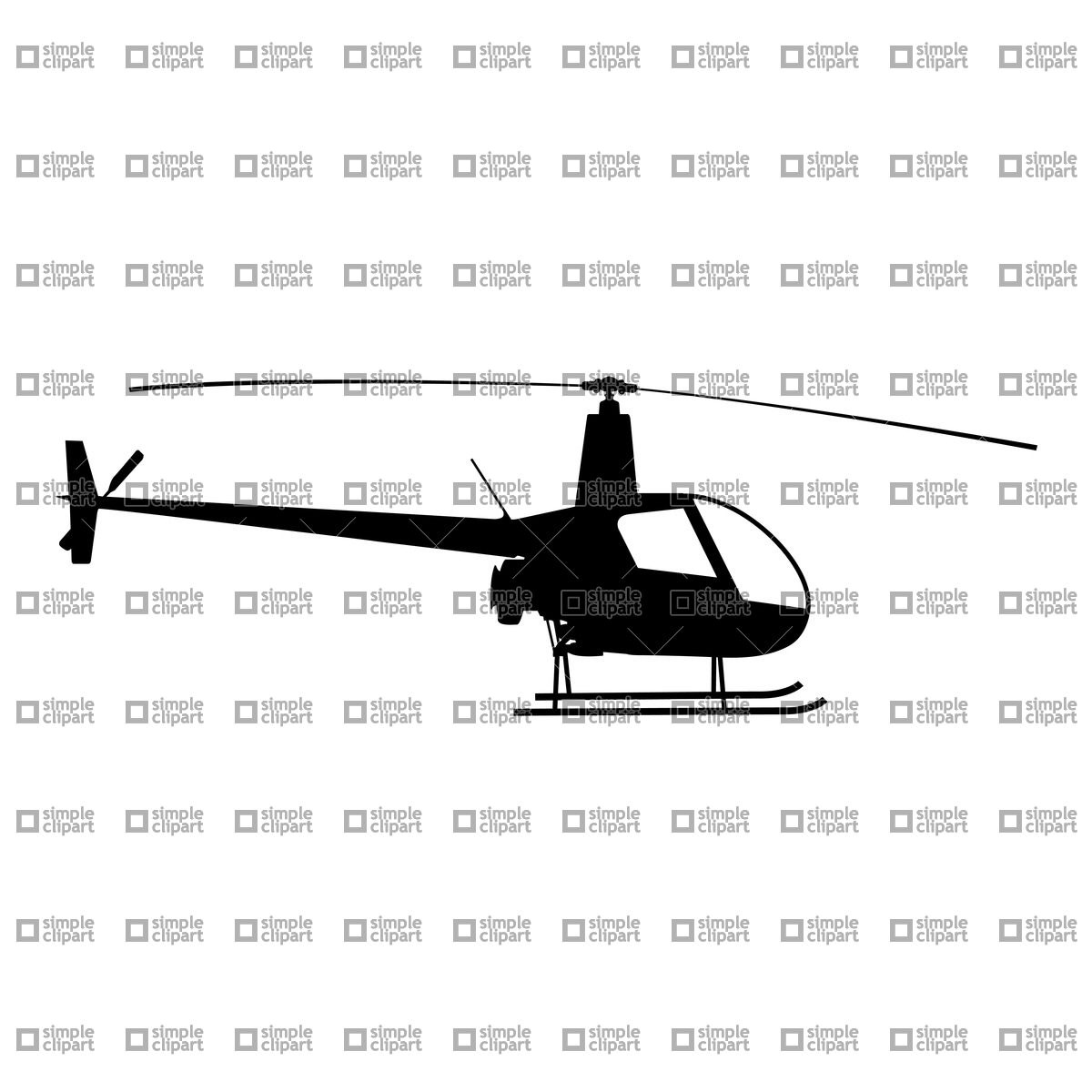 1200x1200 Helicopter Silhouette Vector Image