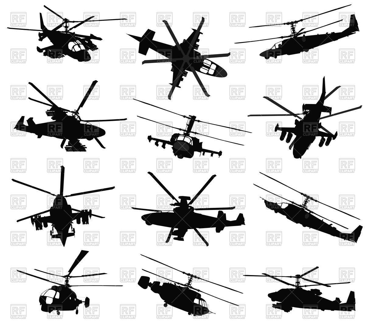 1200x1055 Military Helicopter Silhouettes Set Vector Image Vector Artwork