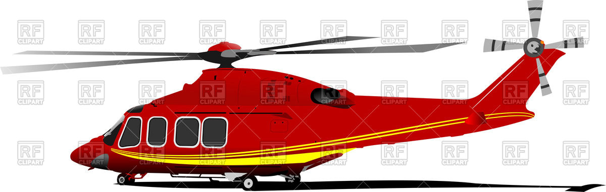 1200x381 Red Yellow Helicopter (Side View) Vector Image Vector Artwork Of