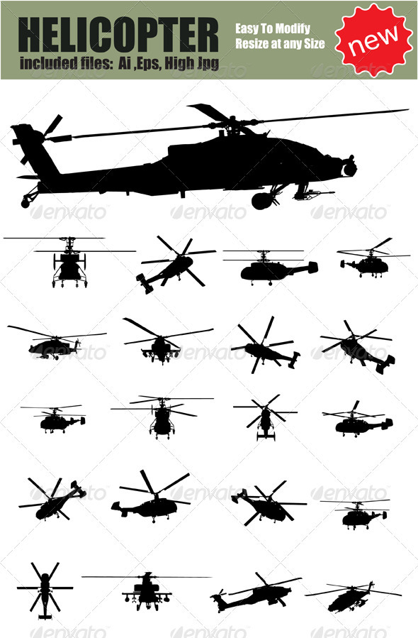 590x899 Vector Helicopter Silhouette Set By Ozgers Graphicriver
