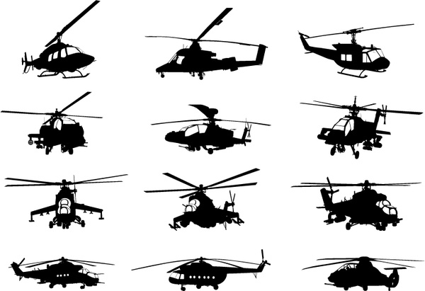 600x411 Creative Military Helicopter Silhouette Vector Free Vector In