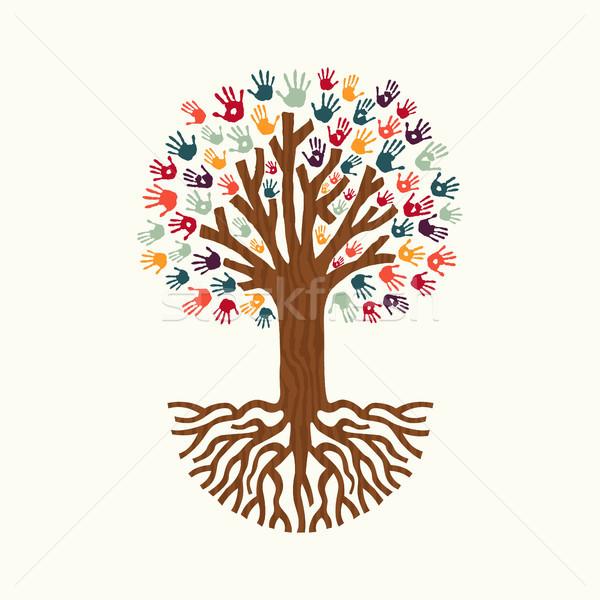 600x600 Hand Print Tree Illustration For Community Help Vector