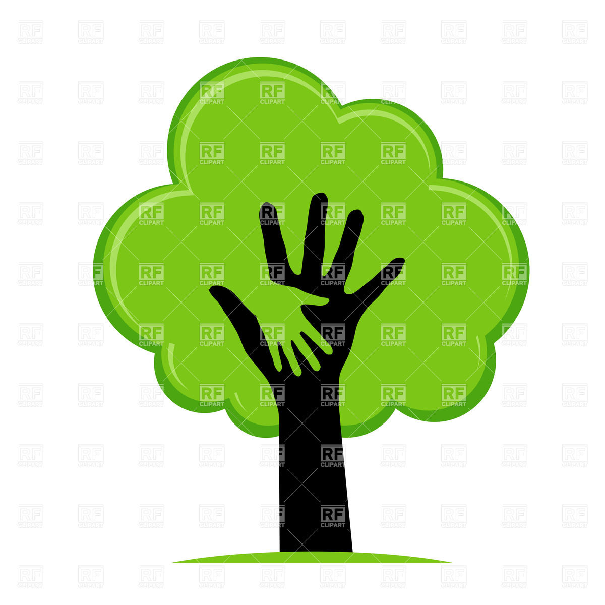 1200x1200 Helping Hand In The Green Tree Vector Image Vector Artwork Of