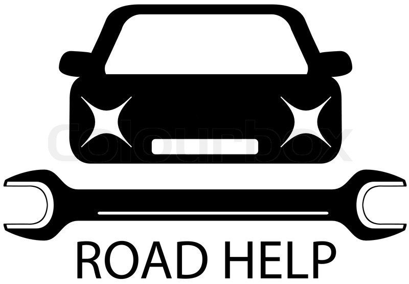 800x555 Road Help Sign With Black Car And Tools For Repair Stock Vector