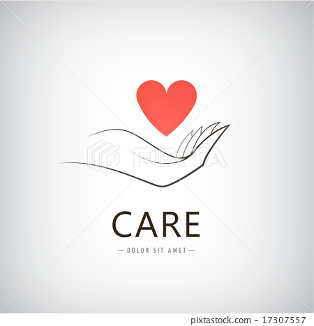 450x468 Vector Charity, Medical, Care, Help Logo, Icon With Line Hand