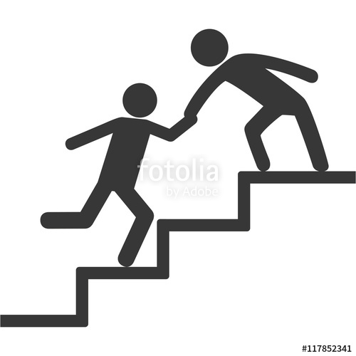 500x500 Pictogram Stairs Human Help Support Icon. Isolated And Flat