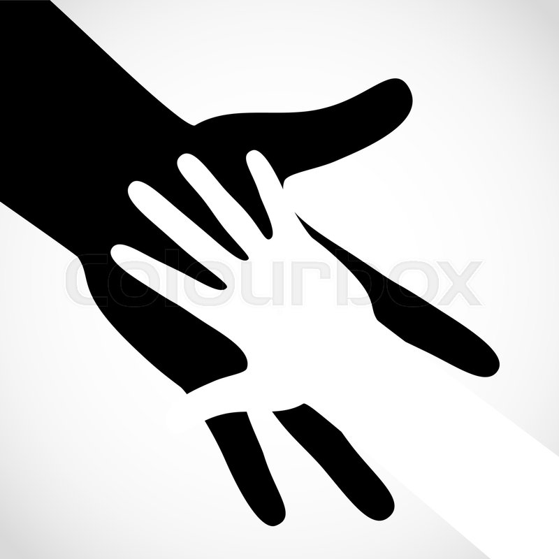 800x800 Black Color Big Hand And White Small Hand Vector Concept. Help