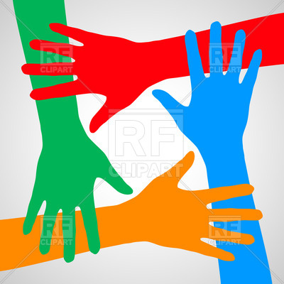 400x400 Colorful Hands Symbolizing Friendship, Help And Support Vector