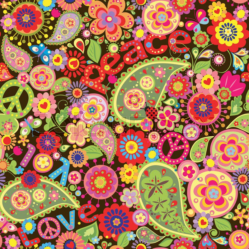 800x800 Hippie Wallpaper With Colorful Spring Flowers And Paisley Stock