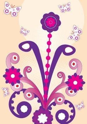 282x400 Hippy Flower Background Card Design With Purple Flower. Free