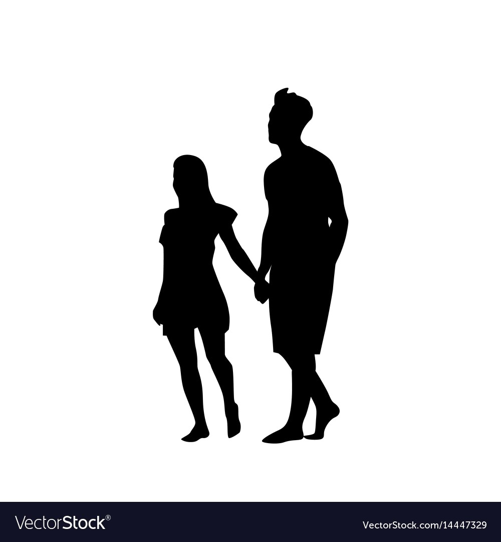 1000x1080 Silhouette Couple Man And Woman Walk Holding Hands Vector 14447329