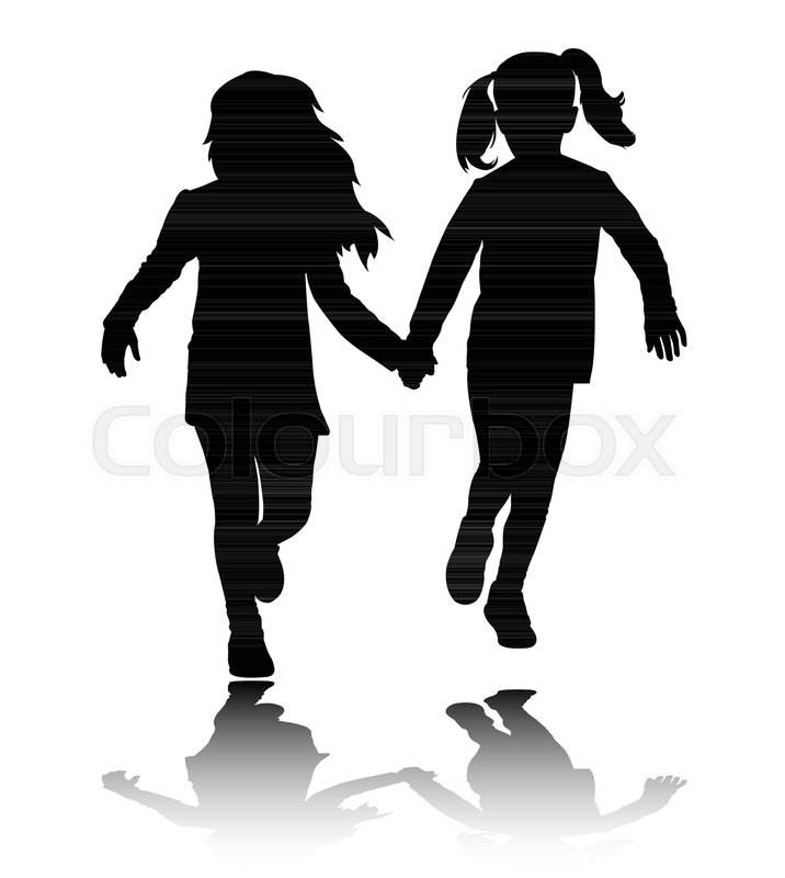 716x800 Two Preschooler Girls Holding Hands And Running Silhouettes