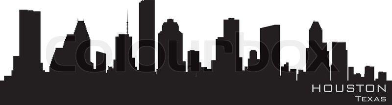 800x214 Houston, Texas Skyline Detailed Vector Silhouette Stock Vector