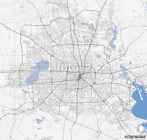 500x475 Map Houston City. Texas Roads Stock Image And Royalty Free Vector