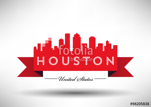 500x354 Vector Houston Skyline Design With Typography Stock Image And