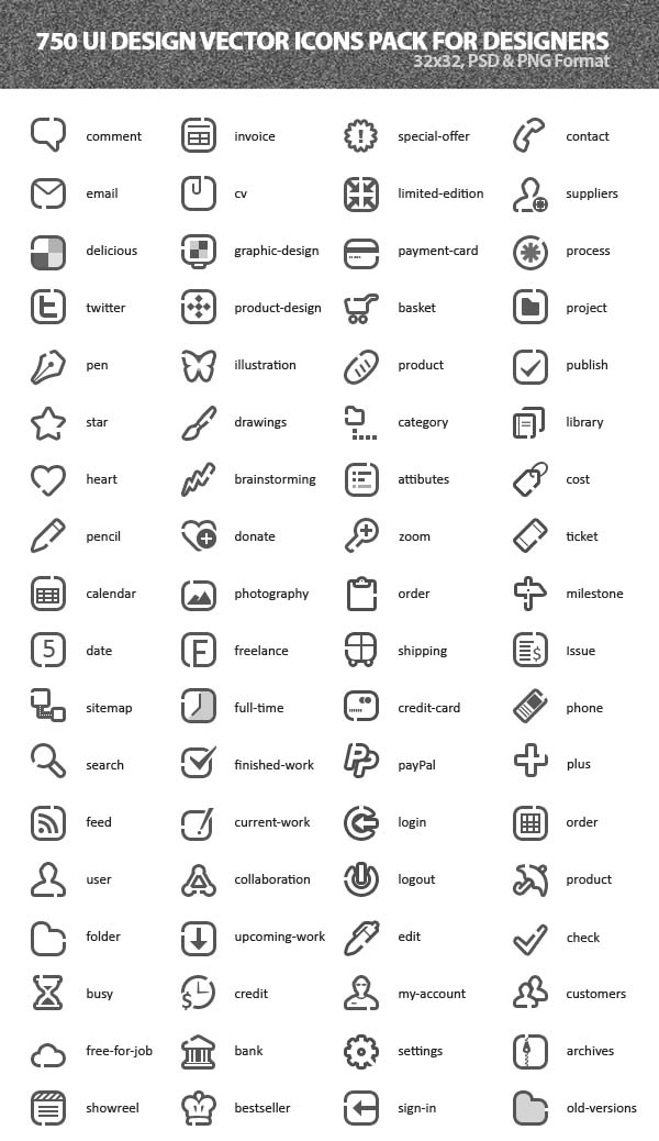 600x1038 750 Ui Design Vector Icons Pack Icons Graphic Design Junction