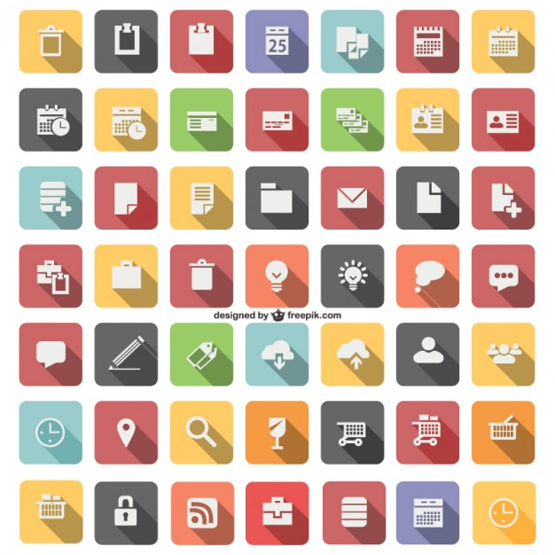 626x626 Flat Icon Set Vector Free Download