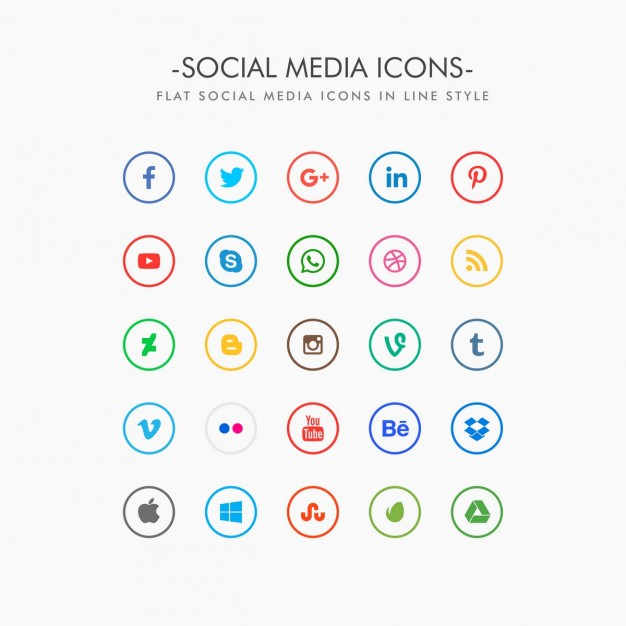 626x626 Minimal Social Media Icons Pack Vector Free Download