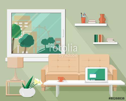 500x400 Flat Modern Design Vector Illustration Of Living Room Stock Image