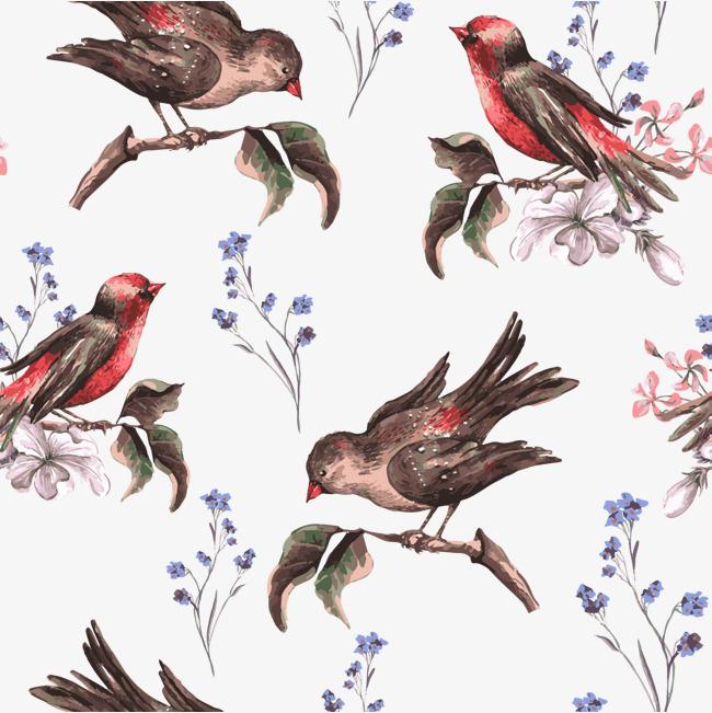 650x651 Flowers And Birds Vector Free Download, Bird, Meticulous, Big