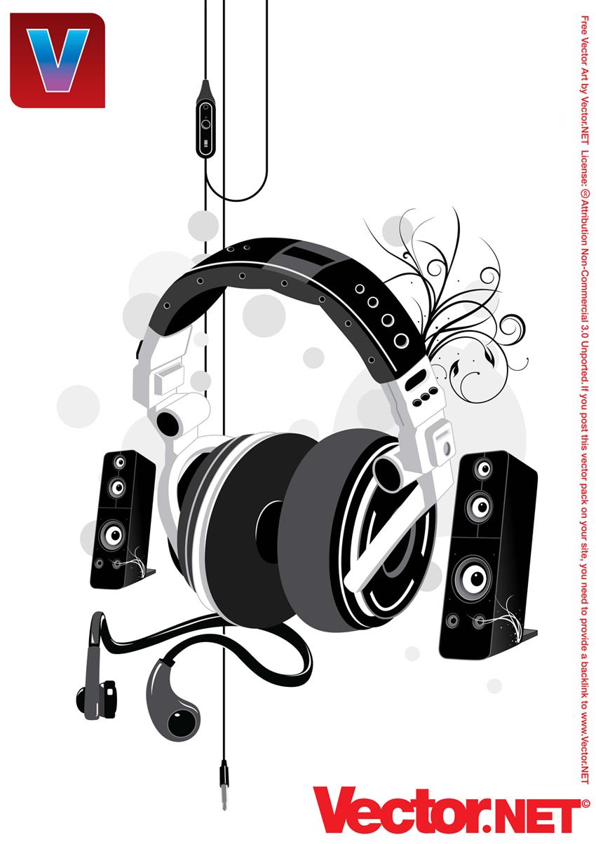 850x1204 Free Music Headphone Amp Speakers Vector Illustration