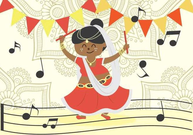 632x443 Garba Dancer Free Vector Download 408281 Cannypic