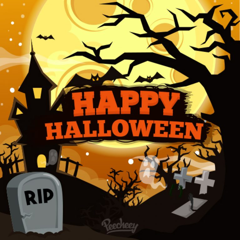 768x768 Spooky Halloween Night On The Grave Free Vector Illustration
