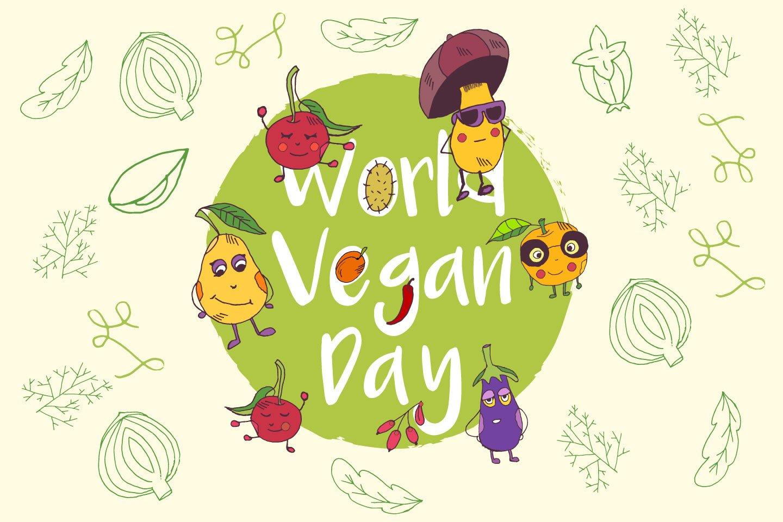 1440x960 World Vegan Day Free Vector Illustration