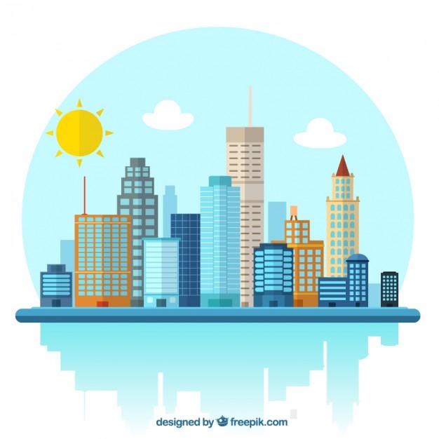 626x626 City Illustration Vector Free Download