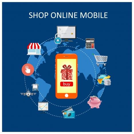 468x468 Flat Design Vector Illustration Concepts With Shop Online Mobile